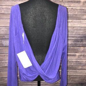 Nwt Fabletics Purple Open Back Long Sleeve Top